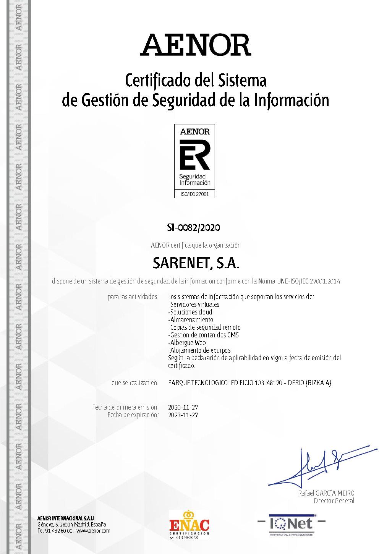 Certificacion Aenor Sarenet